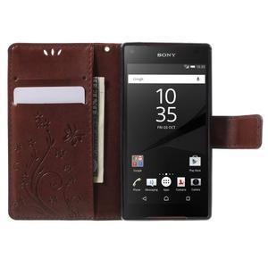 Butterfly peněženkové pouzdro na Sony Xperia Z5 Compact - hnědé - 5
