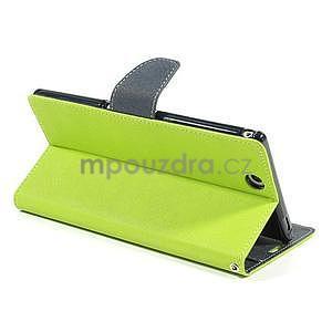 Peňaženkové PU kožené puzdro pre Sony Z Ultra - zelené - 5