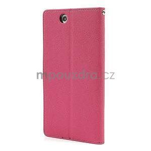 Peňaženkové PU kožené puzdro pre Sony Z Ultra - rose - 5