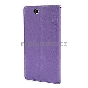 Peňaženkové PU kožené puzdro pre Sony Z Ultra - fialové - 5