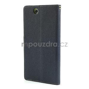 Peňaženkové PU kožené puzdro pre Sony Z Ultra - tmavomodré - 5
