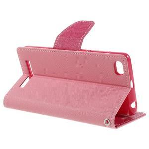 Diary PU kožené pouzdro na mobil Xiaomi Redmi 3 - růžové - 5