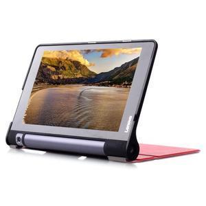 Polohovatelnotelné PU kožené pouzdro na Lenovo Yoga Tab 3 8.0 - červené - 5