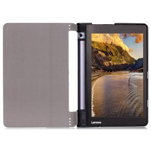 Polohovatelnotelné PU kožené pouzdro na Lenovo Yoga Tab 3 8.0 - fialové - 5