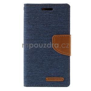 Štýlové textilné/PU kožené puzdro pre Samsung Galaxy Core Prime - modré - 5