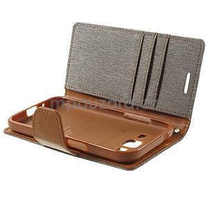 Stylové textilní/PU kožené pouzdro na Samsung Galaxy Core Prime - šedé - 5