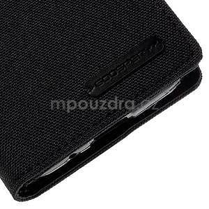Stylové textilní/PU kožené pouzdro na Samsung Galaxy Core Prime - černé - 5