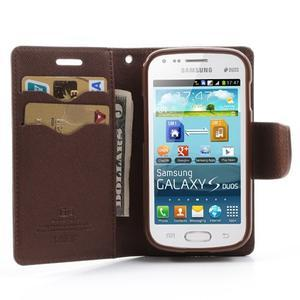 Diary puzdro pre mobil Samsung Galaxy S Duos / Trend Plus - čierne/hnedé - 5