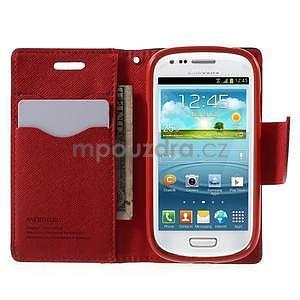 Diary peňaženkové puzdro na mobil Samsung Galaxy S3 mini - čierne/ červené - 5