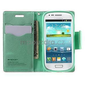 Diary peňaženkové puzdro na mobil Samsung Galaxy S3 mini - ružové/azúrové - 5