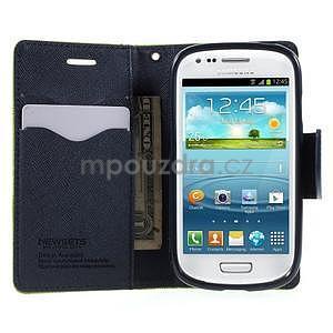 Diary peňaženkové puzdro na mobil Samsung Galaxy S3 mini - zelené/tmavomodré - 5