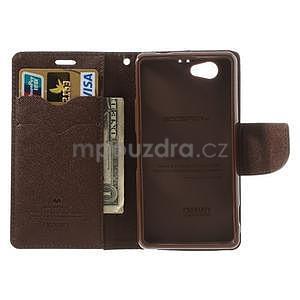Fancy peňaženkové puzdro na Sony Xperia Z1 Compact - čierne/hnedé - 5