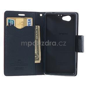 Fancy peňaženkové puzdro pre Sony Xperia Z1 Compact - červené - 5