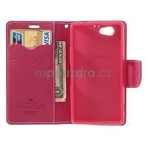 Fancy peňaženkové puzdro pre Sony Xperia Z1 Compact - ružové - 5
