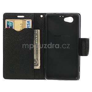 Fancy peňaženkové puzdro pre Sony Xperia Z1 Compact - čierne - 5