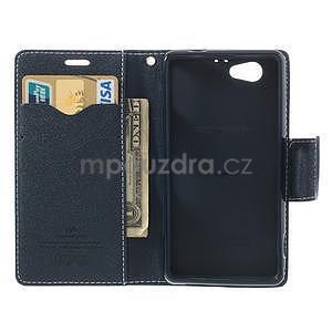 Fancy peňaženkové puzdro pre Sony Xperia Z1 Compact - azúrové - 5