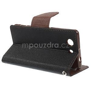 Diary Peňaženkové puzdro pre mobil Sony Xperia Z3 Compact - čierne/hnedé - 5