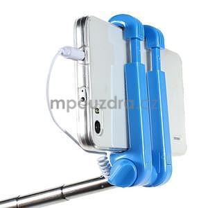 Selfie tyč s automatickým spínačom na rukojeti - svetlo modrá - 5
