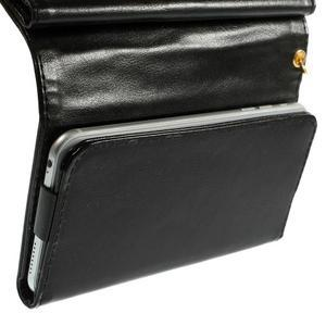 Univerzálne PU kožené puzdro pre mobil do 160 x 80 mm - čierne - 5