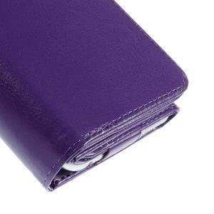 Univerzálne PU kožené puzdro pre mobil do 160 x 80 mm - fialové - 5