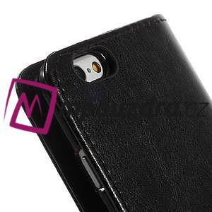 Peňaženkové kožené puzdro na iPhone 6, 4.7 - čierné - 6