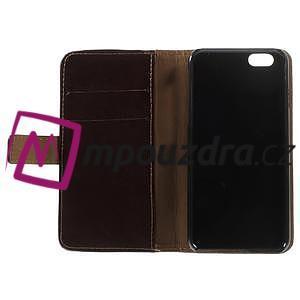 Peňaženkové kožené puzdro na iPhone 6, 4.7 - hnedé - 6