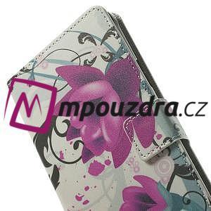 Peňaženkové puzdro pre Samsung Galaxy Note 4- fialový kvet - 6
