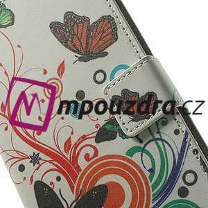 Peňaženkové puzdro pre Samsung Galaxy Note 4- farebné motýle - 6