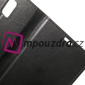 Peňaženkové kožené puzdro na Samsung Galaxy Note 4- čierné - 6