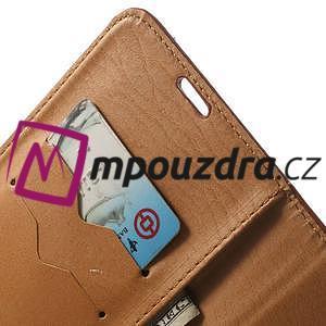 Peňaženkové kožené puzdro na Samsung Galaxy Note 4- hnedé - 6