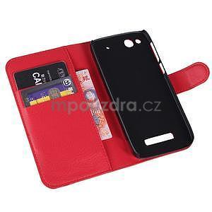 Peňaženkové puzdro pre Alcatel One Touch Idol Alpha 6032 A - červené - 6