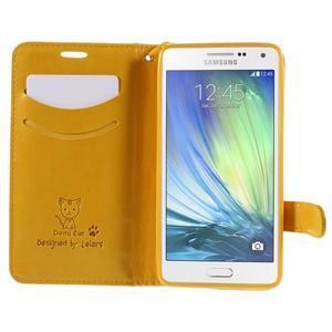 Mačička Domi PU kožené puzdro na Samsung Galaxy A5 - žlté - 6