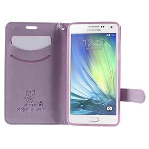Mačička Domi PU kožené puzdro na Samsung Galaxy A5 - fialové - 6