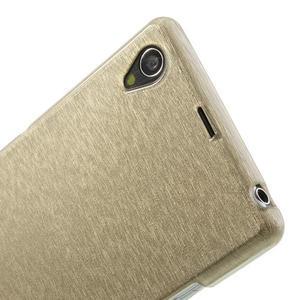 Kartáčované puzdro pre Sony Xperia Z1 C6903 L39- zlaté - 6