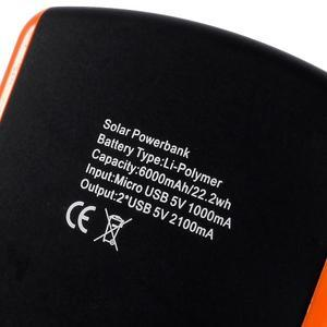 CEX solární externí nabíjačka 6 000 mAh - oranžová - 6