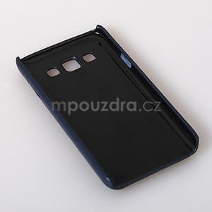 Kožený/plastový kryt se stojánkem na Samsung Galaxy A3 - modrý - 6