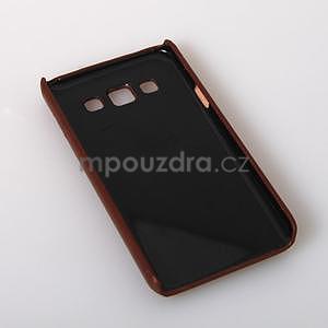 Kožený/plastový kryt se stojánkem na Samsung Galaxy A3 - hnědý - 6
