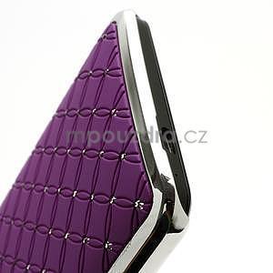 Drahokamové puzdro pre HTC one M7- fialové - 6