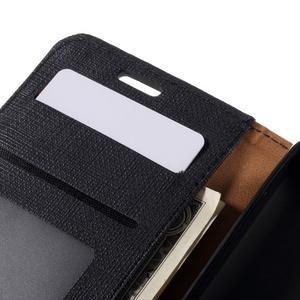 Cloth PU kožené puzdro na mobil Microsoft Lumia 550 - čierné - 6