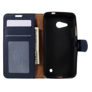 Cloth PU kožené puzdro pre mobil Microsoft Lumia 550 - tmavo modré - 6