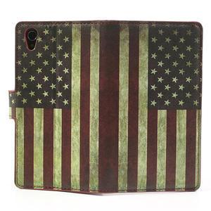 Peňaženkové puzdro pre Sony Xperia Z1 C6903 L39- USA vlajka - 6