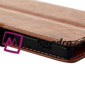 Peňaženkové kožené puzdro na Sony Xperia M2 D2302 - hnedé - 6