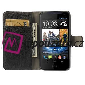 Peňaženkové kožené puzdro na HTC Desire 310- čierné - 6