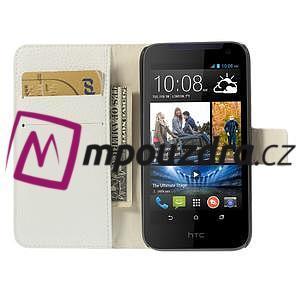 Peňaženkové kožené puzdro na HTC Desire 310- biele - 6