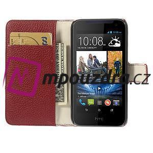 Peňaženkové kožené puzdro na HTC Desire 310- červené - 6