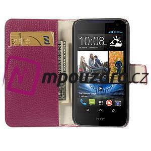 Peňaženkové kožené puzdro na HTC Desire 310- růžové - 6