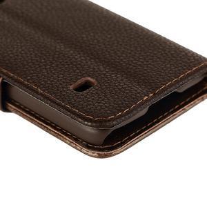 PU kožené flipové pouzdro na Samsung Galaxy S5 mini G-800- hnědé - 6