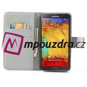 Peňaženkové puzdro pre Samsung Galaxy Note 3- farebné kvety - 6