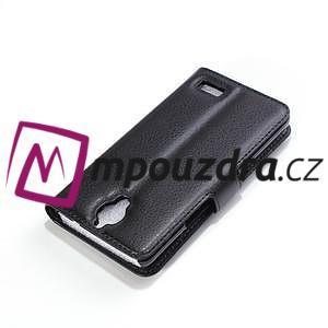 Peňaženkové kožené puzdro na Alcatel One Touch Idol OT-6030D- čierné - 6