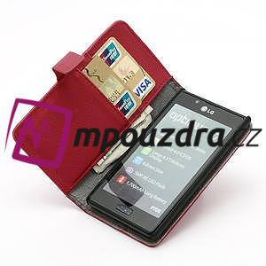 Peňaženkové puzdro na LG Optimus L7 P700 - červené - 6